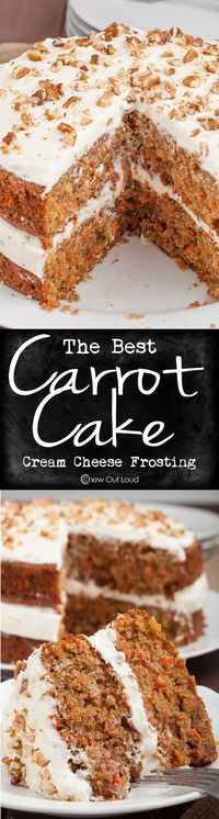 Truly the yummiest carrot cake we've ever devoured. Perfect for spring, holidays, birthdays, or weekends. Super moist cake with standout frosting. #dessert #recipe #carrotcake(Baking Bread With Kids) #carrot #cake #baking #delicious #sweet #treat #cream #cheese #frosting #chewoutloud www.chewoutloud.com
