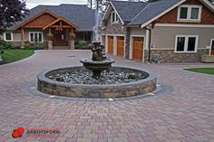 Built in driveway fountain by Abbotsford Concrete Concrete Driveway Pavers, Raised Patio, Ponds Backyard, Garden Beds, Fountain, Gallery, Building, Outdoor Decor, Driveways