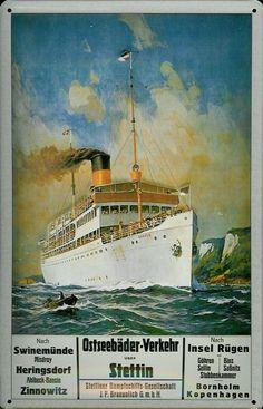 Dampfschiff Ostseebäder Rügen Stettin Blechschild Schild Tin Sign 20 x 30 cm | eBay