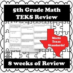 5th Grade Math STAAR and TEKS Review with 160 problems! It provides 8 weeks of rigorous spiral review of the Texas Math Standards. Each sheet has 4 problems covering the four reporting categories. There is also a reflection sheet for students. Using the review is easy; just print and go! Math 5, Daily Math, Math Teacher, Teacher Stuff, Sixth Grade Math, 5th Grade Classroom, Teaching Social Studies, 5th Grades, Elementary Schools