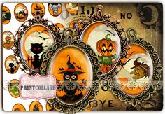 Digital Printable Sheets 40x30 30x22 25x18 18x13mm by PrintCollage, $4.30 Image Halloween, Digital Collage, Collages, Clip Art, Printables, This Or That Questions, Etsy, Jewelery, Collage
