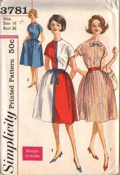 Vintage 50's Mondrian Esque Rockabilly Color Block Party Dress, POCKETS