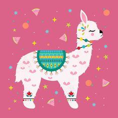 Tutti Frutti Alpaca Art Print by carlywatts Alpacas, Llama Pictures, Llama Arts, Alpaca My Bags, Llama Birthday, Cute Llama, Photo Images, Grafik Design, Cute Illustration