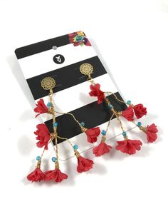 Maxi aretes Chamizo rojo by Alejandra Valdivieso Jewelry Design, Earrings, Bags, Fashion, Wire, Gold, Stud Earrings, Ear Rings, Handbags