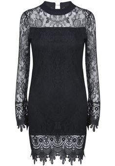 Black Long Sleeve Contrast Lace Bodycon Dress