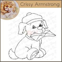Whimsy Crissy Armstrong Rubber Stamp - Special Delivery Pup