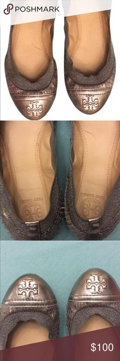 Tory Burch Flats Silver Ballerina Flats used once. Tory Burch Shoes Flats & Loafers