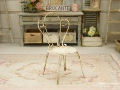 Miniature child bed in metal and cardboard, Shabby pale pink aged ...