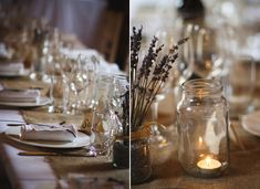 Jam jar lantern and dried lavender wedding table decor // Sarah Brittain Edwards Photography // The Natural Wedding Company Hessian Wedding, Rustic Wedding Alter, Rustic Wedding Groomsmen, Rustic Wedding Foods, Rustic Wedding Centerpieces, Wedding Table Decorations, Dried Lavender Wedding, Lilac Wedding, Country Barn Weddings