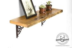 This rustic shelf has been handcrafted from reclaimed pine wood and features rustic brown cast iron brackets. This shelf could be used as farmhouse kitchen shelving to organize and display dishes or used in a living room or bedroom to store books, small plants, pictures and more! Each piece of wood chosen for these shelves are one-of-a-kind and have been carefully selected to achieve maximum character and color in the wood, no two shelves will be the same.