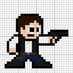 Han Solo Perler Bead Pattern Melty Bead Patterns, Pearler Bead Patterns, Perler Patterns, Pearler Beads, Beading Patterns, Star Wars Crafts, 8 Bit Art, 8 Bits, Star Wars Han Solo