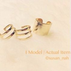 SALE Set of 3 gold metallic ring Brand new. Set of 3 chic rings Available in silver and gold. All rings are adjustable.❗️those are all open and adjustable but the thick band ring is bigger in general so unless u push it really hard I won't recommend size under 6:) Jewelry Rings