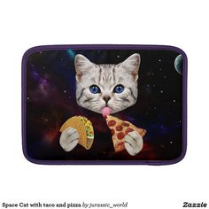 Space Cat with taco and pizza MacBook Sleeve