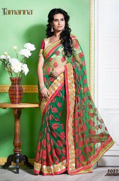 Product & Catalog: 2027-Rang Rasiya (cocktail) Type: Designer saree with work. Status: Available  For order: www.tamannasaree.com  #saree #indianwear #ethnicwear #festival #embroidery #designersaree