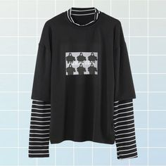 Buy Fucking Cool eGirl Aesthetic Two Piece Striped Long Sleeve Top with a discount. Shop for Aesthetic Clothing Accessories eGirl Outfits Soft Girl Apparel Grunge Vintage clothes Artsy Art Hoe Stuff Egirl Fashion, Grunge Fashion, Korean Fashion, Striped Long Sleeve Shirt, Long Sleeve Tops, Long Sleeve Shirts, Tunic Tops For Leggings, Pastel Goth Outfits, Trendy Hoodies