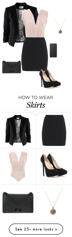 """""""Black Skirt"""" by gone-girl on Polyvore featuring H&M, T By Alexander Wang, Jimmy Choo, Chanel and Apple"""