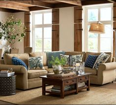 Beige Sofa Blue Cushions