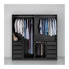PAX Wardrobe, black-brown, Auli Ilseng 200x66x201 cm soft closing device