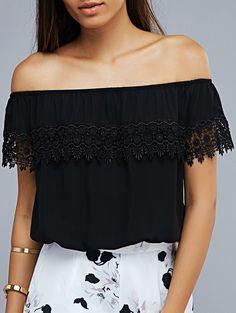 12873edc6e1cb7 Off The Shoulder Lace Spliced Short Sleeve Cropped T-Shirt    Trendy  Outfits