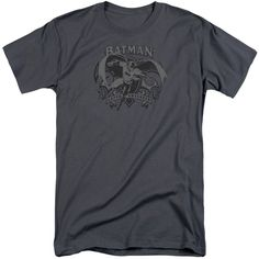 BATMAN/CRUSADE-S/S ADULT TALL-CHARCOAL