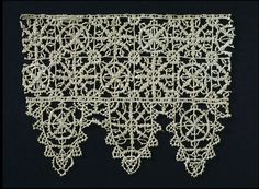 Border Italian 1600-1620   The technique of cutwork used to make this piece of lace was the creation of a delicate structure of needle lace stitches across the spaces cut in a fine linen ground. It reached the height of its popularity in the late sixteenth and early seventeenth century, when it was used to decorate every type of linen and in particular to draw attention to the face and throat in the form of collars and ruffs. This short length of border may well have been part of a collar.