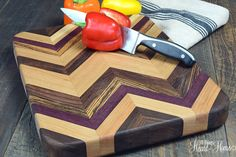 Items similar to Chevron Cutting Board~Made from Exotic & Hard Woods on Etsy End Grain Cutting Board, Diy Cutting Board, Wood Cutting Boards, Chopping Boards, Woodworking Guide, Custom Woodworking, Woodworking Projects Plans, Chevron, Wood Shop Projects