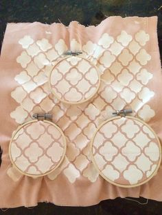 Stenciled fabric embroidery hoop wall art.