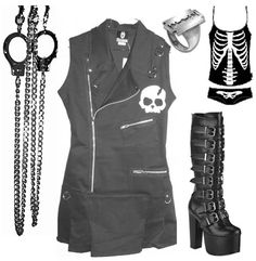 Goth clothing from Ipso Facto. Tripp, Attempt, Emily the Strange, buckle boots and skull shirt, razorblade ring.