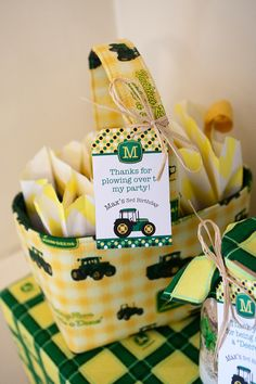 John Deere birthday party favors - printables from Chickabug - Goodie bagsg from Sweets & Treats Boutique