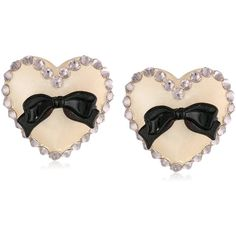 """Tarina Tarantino """"Classic"""" Nude Lucite Post Heart Earrings (63 RON) ❤ liked on Polyvore featuring jewelry, earrings, bows, lucite jewelry, heart jewelry, lucite earrings, heart shaped jewelry and clear lucite jewelry"""