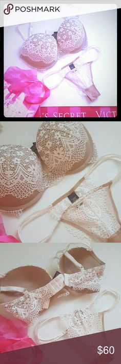 New! Victoria's secret pushup bra and panty set! New with tags! Gorgeous detail Victoria's secret pushup bra size 32dd with matching panty, size extra small.  Bundle and SAVE! Victoria's Secret Intimates & Sleepwear Bras