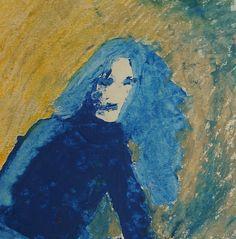 Sitting blue woman. Technique: gouache oil pastels. by ankaGilding
