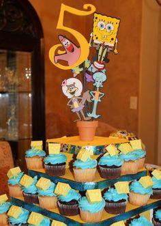 0b68c0cf71bd0 Bikini Bottom Birthday | CatchMyParty.com Sponge Bob Cupcakes, Spongebob  Square, Cake Table