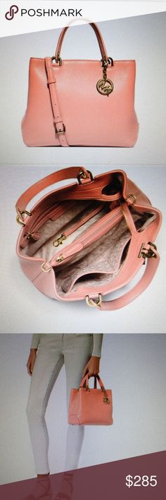 """Michael Kors Med pink Ababelle Top-Zop tote NWT Michael Kors medium pale pink Leather Anabelle Top-Zop Tote. Top zip closure, double top handles 4.5"""" drop, adjustable 21"""" X 23.75"""" strap,. Interior has a zip pocket, two slip pockets, one zip divider pocket and a key fob. 12""""X9""""X5"""" NWT Michael Kors Bags Totes"""