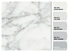 White Carrara laminate w Paint colors from Chip It! by Sherwin-Williams ... veins have a taupe shade (warm) instead of gray :) ... used for our countertops