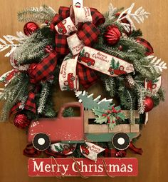 Christmas Red Truck, Plaid Christmas, Country Christmas, Winter Christmas, Christmas Holidays, Christmas Wreaths, Merry Christmas, Christmas Ornaments, Truck Crafts