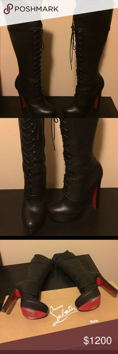Women's AUTHENTIC Christian Louboutin Riding Boots Pre-Owned genTly worn AUTHENTIC Christian Louboutin leather riding boots. EXCELLENT Condition..... Only worn (2x) times. Size: 39.0  Color: Black Leather Price: $1,200 or Best Offer. Shipping cost: FREE Smoke free home. Please know your size in Christian Louboutin as there is NO return on this item. Thanx so much for considering & happy bidding!😻 *** PLEASE NOTE*** The photo of the soles was displayed to show Authenticity; however, upon…