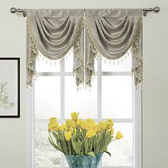 "Modern Classic Floral Glyphs Waterfall Valance 19W X 24""L (One Piece) – USD $ 29.99"