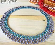Free pattern for necklace Aqua