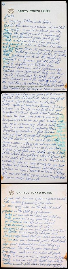In 1988 as his record-breaking Bad World Tour rolled on, Michael Jackson penned a rare note to Bill Pecchi, a camera operator who, due to his recent work on the movie Moonwalker, had been asked to film crowd reactions prior to and during each of the 123 concerts.  This brought tears to my eyes & it wasn't even addressed to me lol.