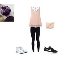 Cute casual outfit by cutestime on Polyvore featuring Glamorous, NIKE, Forever 21 and Converse