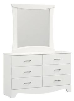 Vogue Modern White Wood Glass Dresser