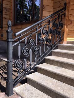 Fun and funky - NOT the finial at the end, though. Want a railing folks can grab from the stone path approach. Exterior Stair Railing, Modern Stair Railing, Wrought Iron Stair Railing, Balcony Railing Design, Staircase Design, Tor Design, Iron Gate Design, Iron Balcony, Grades