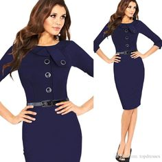2016 2015 Formal Women Work Dresses Bodycon Ol Work Pencil Dresses Elegant Summer Office Ladies Dresses With Long Sleeves Knee Length From Topdresses, $19.7 | Dhgate.Com