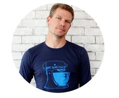 Men's Long Sleeved Mixer Tshirt in Navy Blue by CausticThreads