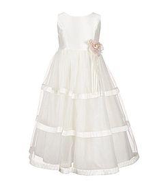 Jayne Copeland Little Girls 2T6X Flower Waist Organza Tiered Dress #Dillards