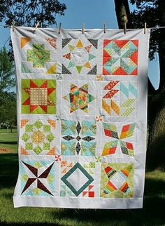 Pretty sampler quilt, with patterns and tutorials for each block