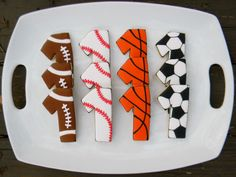Sports cookies. So cute for any sports event, soccer parties, Game Day, and anytime a Yankees game is viewed. ;)