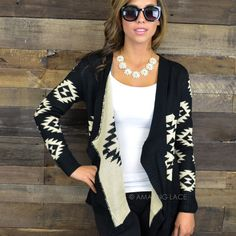 Breezy Tops Black & Taupe Aztec Sweater Cardigan