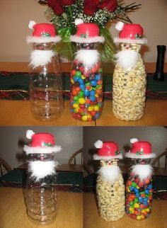 Creamer containers turned into Santa snack jars. GREAT gifts. Easy to